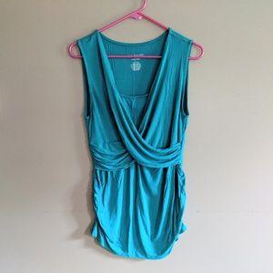 Teal Maternity & Nursing Sleeveless Shirt - Tank